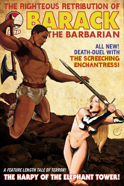 "Forget Arnold Schwarzenegger as Conan the Barbarian. Here's US President Barack Obama as Barack the Barbarian in a new comic book. Chicago-based Devil's Due Publishing will publish 'Barack the Barbarian: Quest for the Treasure of Stimuli' in June. It features the Democrat leader as the muscle-bound, loincloth-wearing president of 'Kickassistan'. In the cartoon, he takes on his Nemesis, former Republican vice presidential candidate Alaska Governor Sarah Palin, who sports a cape made from wolf skin and her trademark glasses - and very little else. Obama will also feature in another Devil's Due book, 'Drafted: One Hundred Days'. It tells the story of a leader whose future is stunted ""when a race from beyond the stars drafted our planet into intergalactic war""."