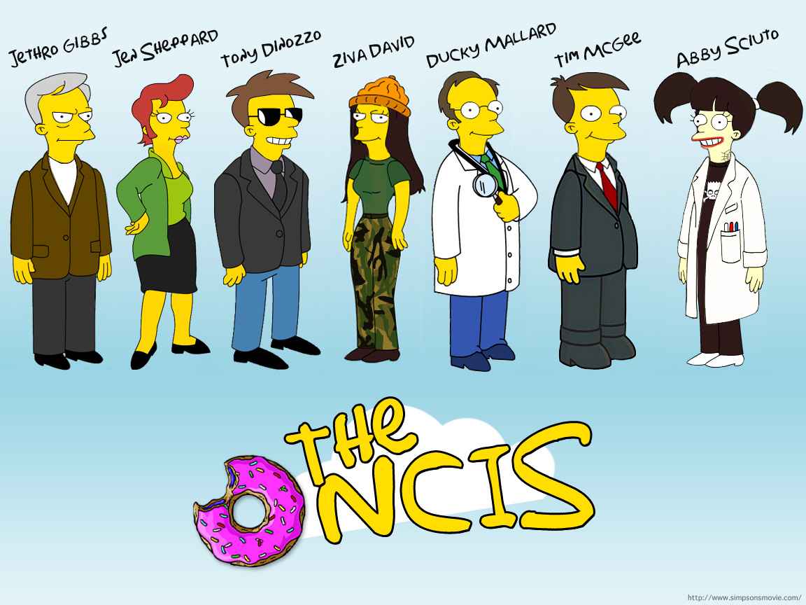 The Simpsons' take on the NCIS main cast. Yellow is not their color.