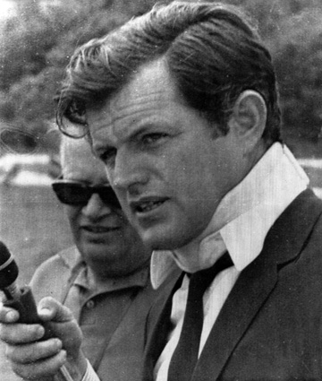 (NYT77) HYANNIS, Mass. -- May 20, 2008 -- KENNEDY-HEALTH-26 -- Senator Edward M. Kennedy after attending the funeral of Mary Jo Kopechne, July 22, 1969 in Hyannis, Mass. Kopechne was a former campaign worker for the assassinated U.S. Senator Robert F. Kennedy. Kopechne's dead body was discovered inside an overturned car belonging to Sen. Kennedy in the channel on Chappaquiddick Island. Sen. Kennedy has a malignant tumor in his brain, his doctors said Tuesday, May 20, 2008 . Tests performed over the weekend at Massachusetts General Hospital in Boston indicated that Kennedy, 76, has a type of cancer known as a malignant glioma in the left parietal lobe, the upper left portion of his brain.  (The Boston Globe)
