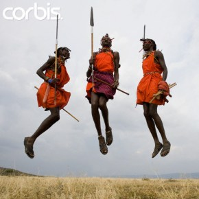 Three Maasai Warriors Jumping