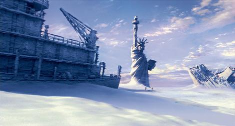 Ice age ... New York Harbour freezes over in the film The Day After Tomorrow.