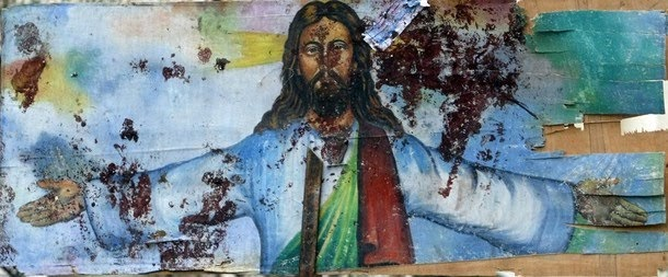Jesus mural blood