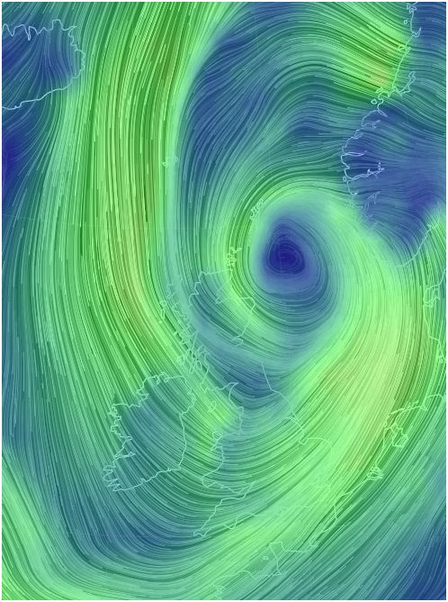 Green swirls attack the British Isles in the latest wind-storm there.