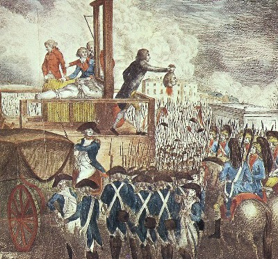 """Execution of King Louis XVI in 1792. Dr. Guillotin opposed the death penalty. After his death in 1814, his children, embarrassed by the association with the device, changed their surname to """"Mercier""""."""